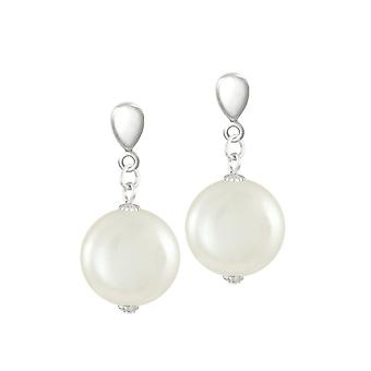 Eternal Collection Bloomsbury White Shell Coin Pearl Silver Tone Drop Clip On Earrings