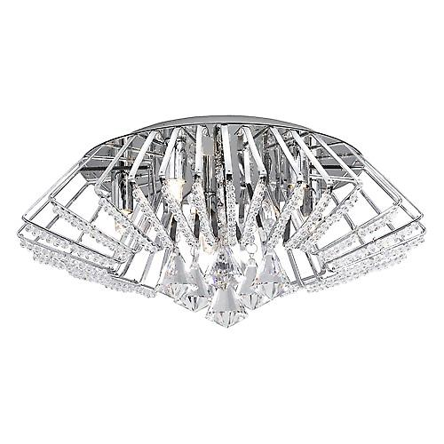Searchlight 3975-5CC Crystal Ceiling Flush Light Crown With Diamond Drops And Beads