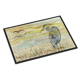 Carolines Treasures  SC2020MAT Blue Heron Yellow Sky Indoor or Outdoor Mat 18x27