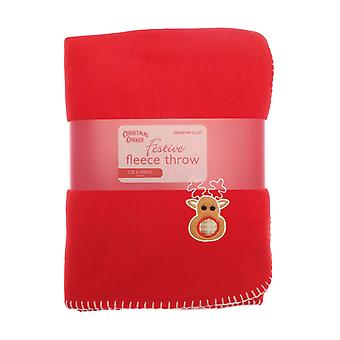 Red Fleece Blanket With Festive Xmas Motif: Reindeer