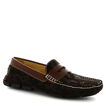 Leonardo Shoes Men's handmade driving loafers in dark brown suede leather