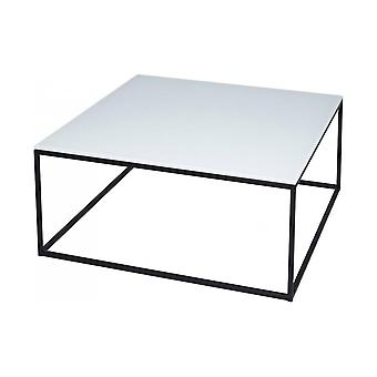 Gillmore Space White Glass And Black Metal Contemporary Square Coffee Table