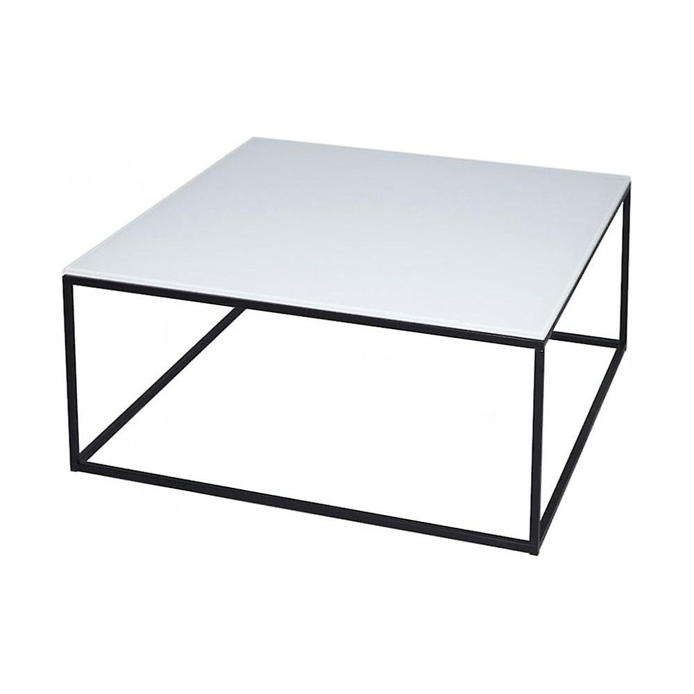 Gillmore Space blanc Glass And noir Metal Contemporary Square Coffee Table