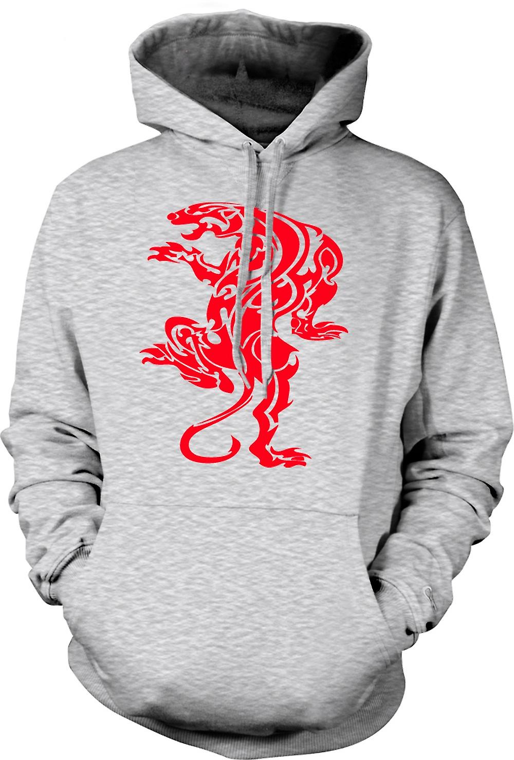 Mens Hoodie - Tiger Tribal Art Design