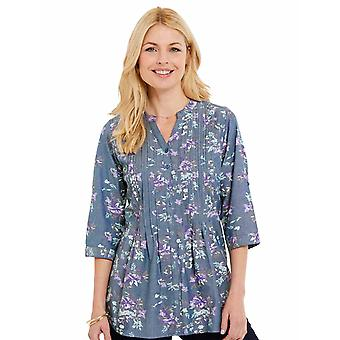 Ladies Womens Print Chambray 3/4 Sleeve Blouse