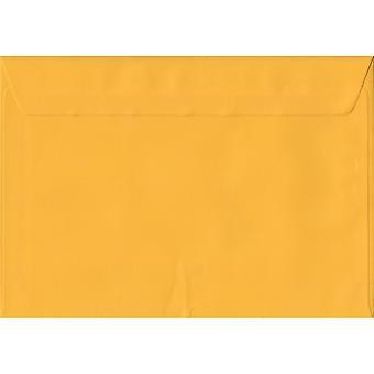 Sello de cáscara amarillo oro C5/A5 color amarillo sobres. 100gsm papel sostenible de FSC. 162 mm x 229 mm. cartera estilo envolvente.