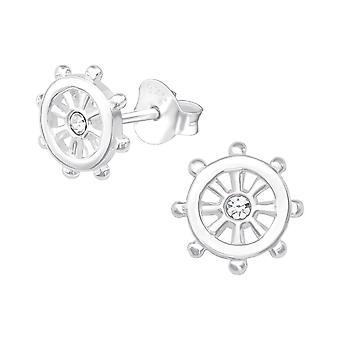 Wheel - 925 Sterling Silver Crystal Ear Studs - W19324X