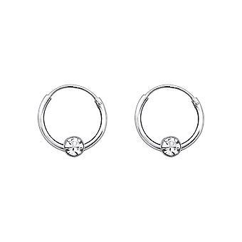 Round - 925 Sterling Silver Ear Hoops - W825X