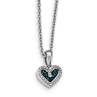925 Sterling Silver Open back Gift Boxed Rhodium-plated Lobster Claw Closure Blue and White Diamond Heart Pendant