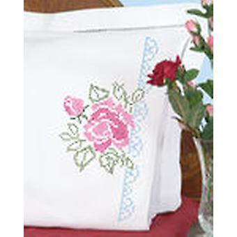 Stamped Pillowcases With White Perle Edge 2 Pkg Xx Roses 1600 386
