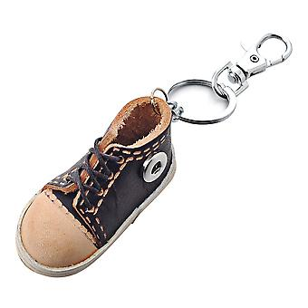 Leather keychain black sneaker for mini click buttons MBK0007