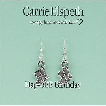 Carrie Elspeth Silver HapBee Birthday Sentiment Drop Earrings
