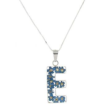 Shrieking Violet Sterling Silver Forget Me Not Flowers E Initial Pendant