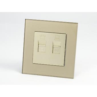 I LumoS AS Luxury Gold Crystal Glass Single Telephone + Internet Socket