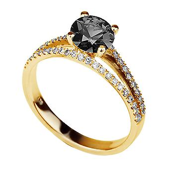 1.36 CTW 14K Gelb Gold Schwarz-Diamant-Ring mit Diamanten Split Schaft Vintage