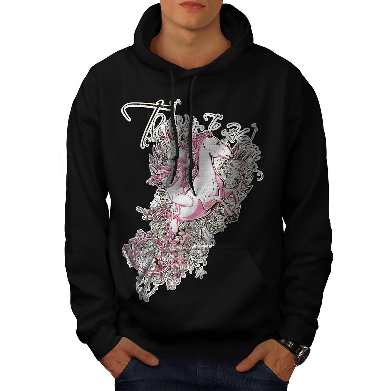 Way To Heaven Myth Unicorn Soul Men Black Hoodie | Wellcoda