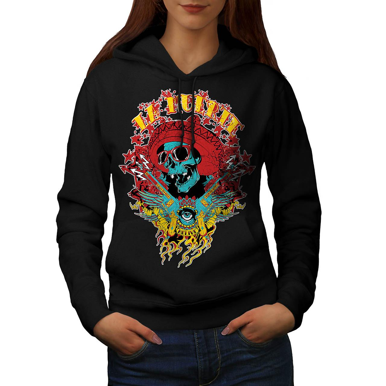 Mexico Skull Gun Life Shade Head Women Black Hoodie | Wellcoda
