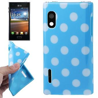 Protective case TPU points of case for mobile LG Optimus L5 / E610 blue/white