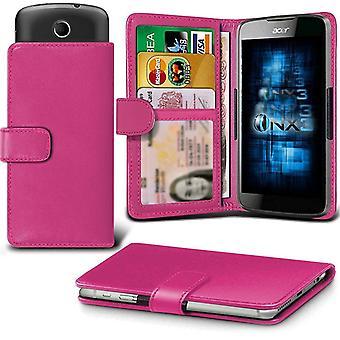 ONX3 (Hot Pink) Gionee M6 Spiegel Fall Universal verstellbare Feder Brieftasche ID-Kartenhalter mit Kameraschlitten und Banknoten-Steckplatz