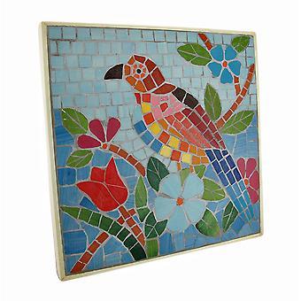 Placca a muro pappagallo tropicale delle mattonelle di mosaico