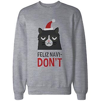 Funny Grumpy Cat Graphic Sweatshirt in Grey – Feliz Navi-Don't Funny Holiday Sweater