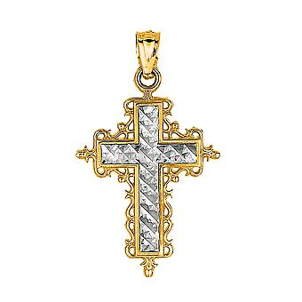 14 k 2 ton guld Diamond Cut runda filigran Design Cross hänge