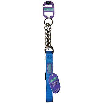 Dog & Co Nylon Training Collar Half Check Blue 19mm X35-50cm