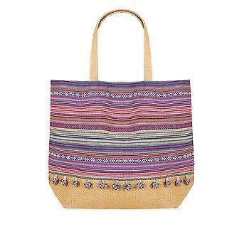Pink & Multi Stripe Pom Pom Beach Bag With Straw Handles & Panel