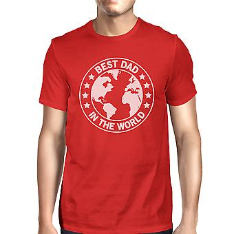 World Best Dad Mens Red Cotton T-Shirt Unique Design Tee For Dad