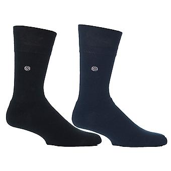 Mens Blue Stripe Cushion Foot Honeycombe Top Gentle Grip Sock By Sock Shop 2pk