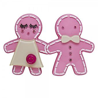 Camille Big Baby Womens dames mode sieraden licht roze Gingerbread Man broche speld