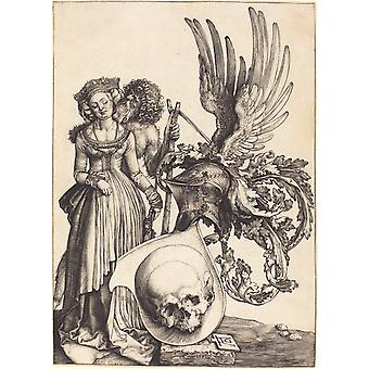 Albrecht Durer - Coat of Arms with a Skull Poster Print Giclee