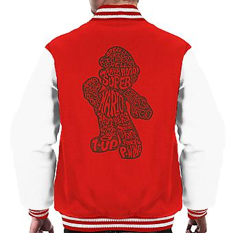 Mario Text Silhouette Men's Varsity Jacket