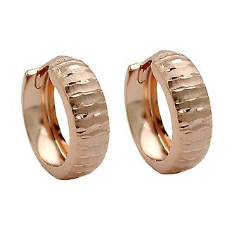 Round hoop earrings of rose gold earrings gold 375 9 KT pink gold matte with diamond cut