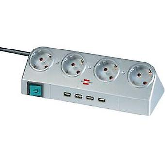 Brennenstuhl Desktop-Power with switch and USB-Hub 2.0 4-way silver 1,8m H05VV-F 3G1,5