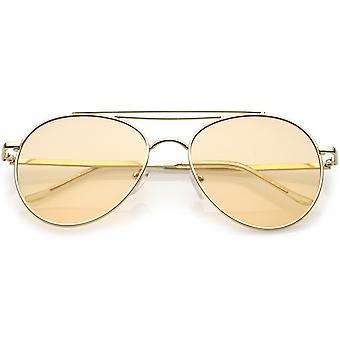 Okulary Aviator Premium podwójne poprzeczka Slim metalowe ramiona okrągłe płaskie obiektyw 55mm