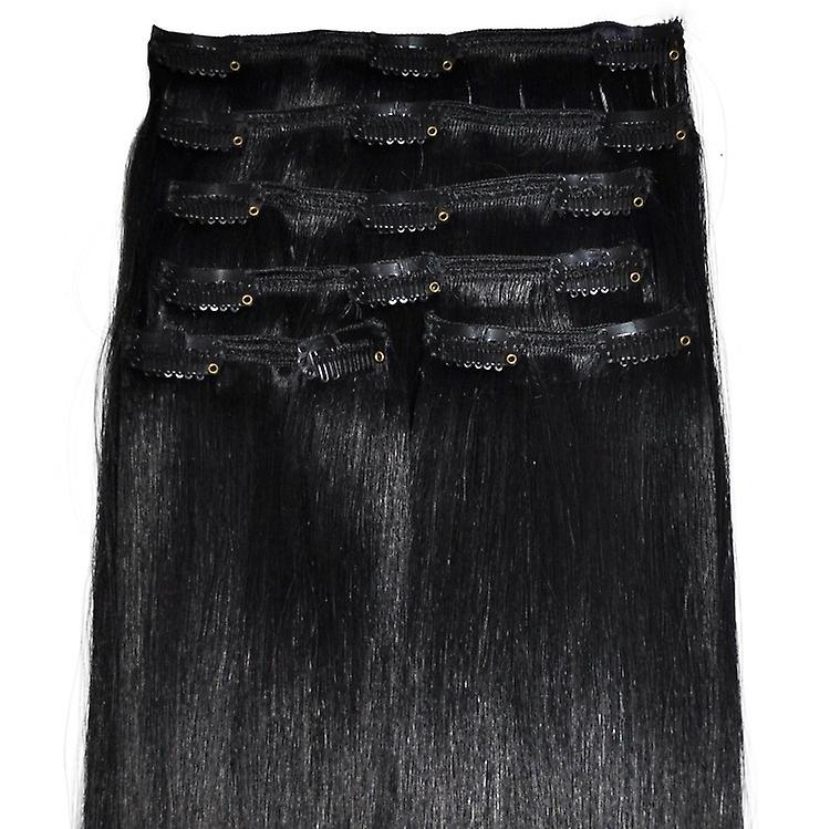 #1 - Jet Black - 6-teilig, Luxus, vollen Kopf, echte Clip in Hair Extensions - 100 % Remy, dreifach Schuß, dicken Menschenhaar