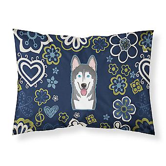 Blue Flowers Alaskan Malamute Fabric Standard Pillowcase