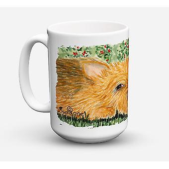 Norwichterrier diskmaskin säkra mikrovågssäker keramisk kaffe Mugg 15 uns