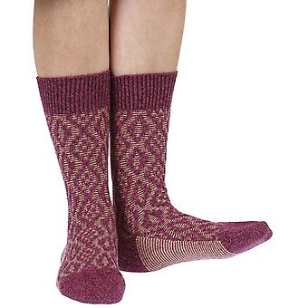 Tatton warm women's wool boot socks in raspberry | By Scott-Nichol