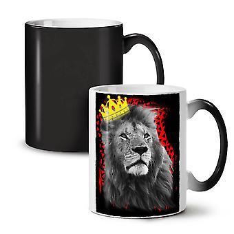 Royal Lion Kingdom NEW Black Colour Changing Tea Coffee Ceramic Mug 11 oz | Wellcoda