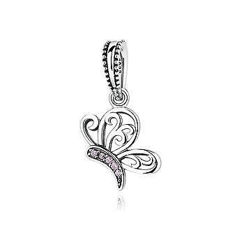 Sterling silver pendant charm butterfly with pink zirconia SCC045