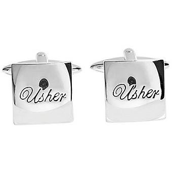 Zennor Usher Text Cufflinks - Silver/Black