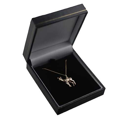 9ct Gold 22x17mm Deer Pendant with a curb Chain 16 inches Only Suitable for Children