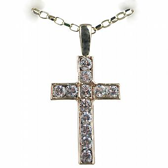 9ct Gold 25x16mm Apostle's Cross set with 12 Cubic Zirconia with a belcher Chain 16 inches Only Suitable for Children