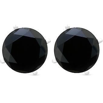 2ct Black Spinel Studs 6mm Earrings 14K White Gold