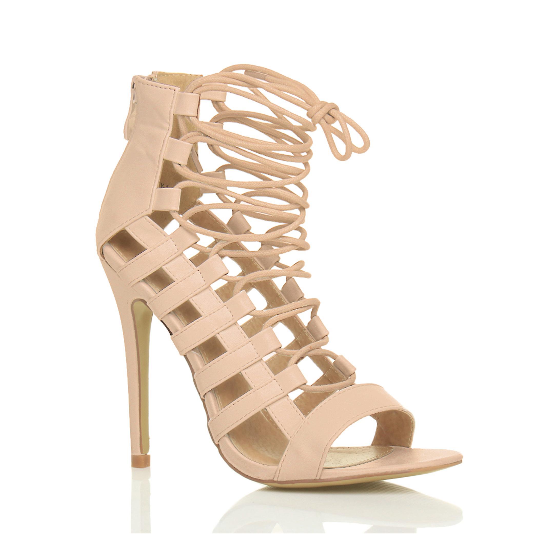Ajvani Damen high Heels Riemchen schnüren Zip ausgeschnitten Ghillie Sandalen Schuhe