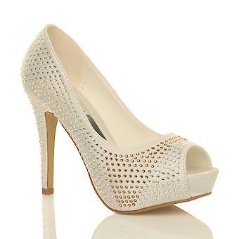 Ajvani womens bruiloft bridal hoge hak platform prom diamante Hof avond schoenen pompen