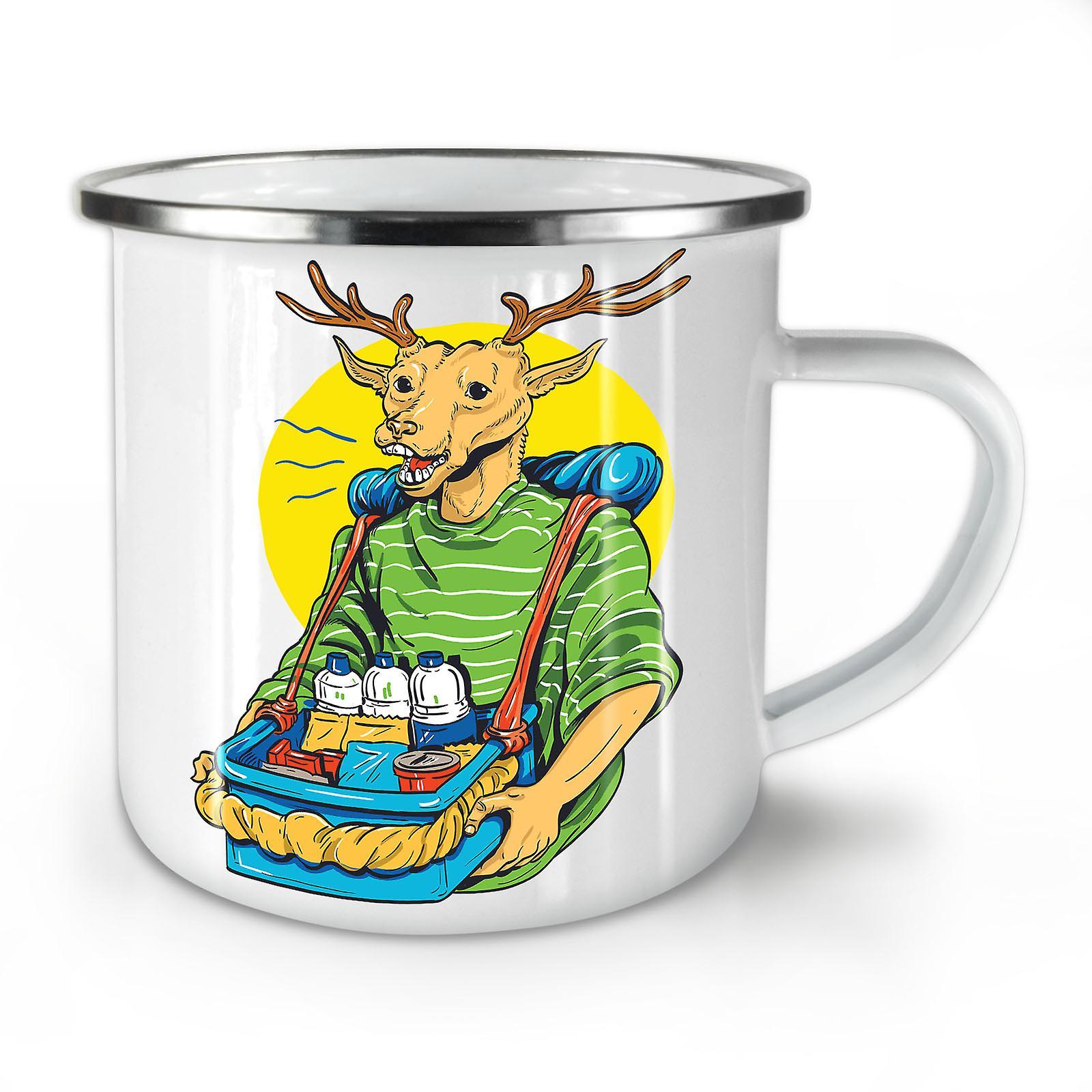 Nouveau OzWellcoda Deer Whitetea Émail Drôle Mug10 Café KT1cFJl