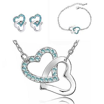Sky Blue Love Hearts Intertwined Jewellery Set With Matching Necklace, Earrings, Bracelet And Ring